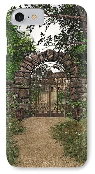 IPhone Case featuring the digital art The Garden Gate by Jayne Wilson