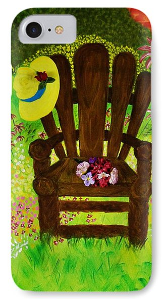 IPhone Case featuring the painting The Gardener's Chair by Celeste Manning