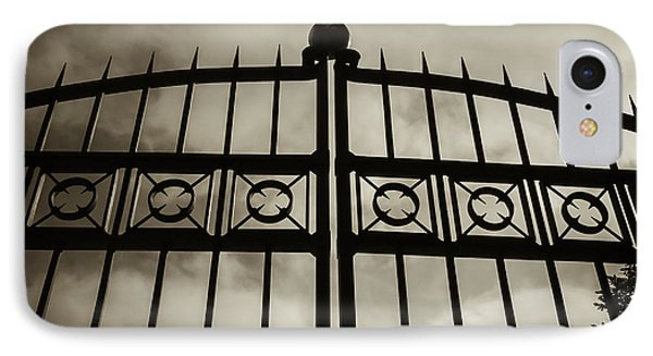 IPhone Case featuring the photograph The Gate In Sepia by Steven Milner