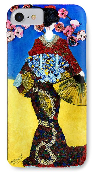 IPhone Case featuring the tapestry - textile The Geisha by Apanaki Temitayo M