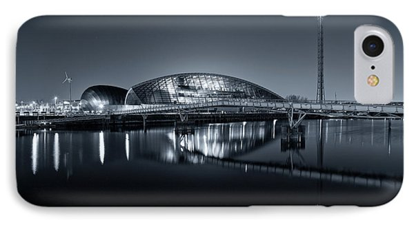 IPhone Case featuring the photograph The Glasgow Science Centre In Black And White by Stephen Taylor