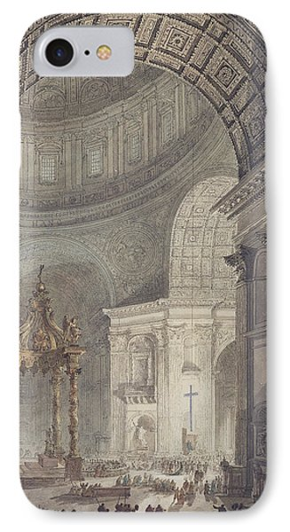 The Glowing Cross In St Peters, Rome, On Maundy Thursday IPhone Case by Charles Norry