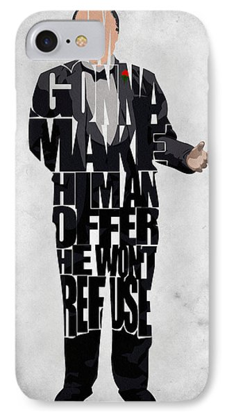 The Godfather Inspired Don Vito Corleone Typography Artwork IPhone Case by Ayse Deniz