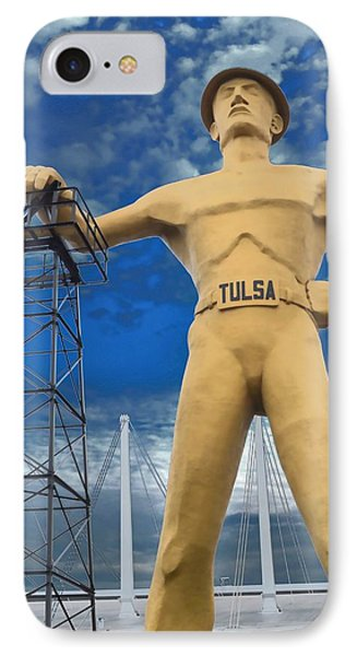 The Golden Driller - Tulsa Oklahoma IPhone Case by Deena Stoddard