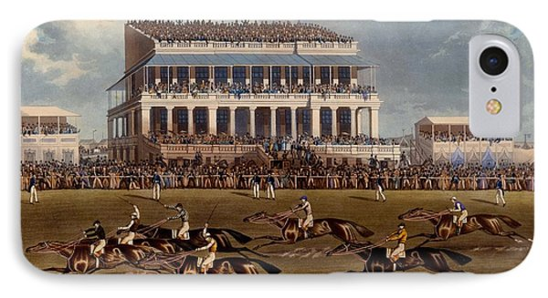 The Grand Stand At Epsom Races, Print IPhone Case by James Pollard