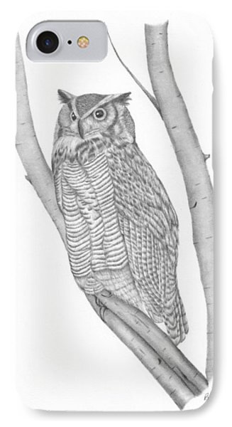 The Great Horned Owl Watches IPhone Case by Patricia Hiltz