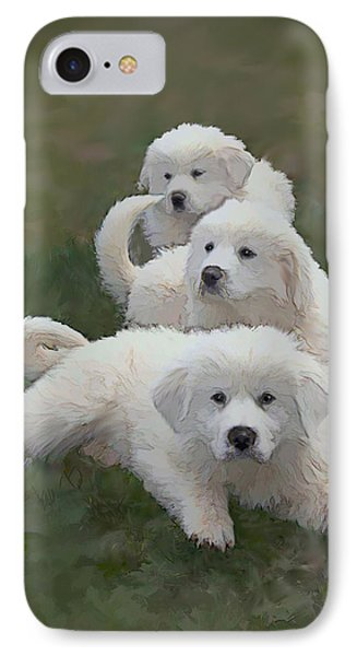 The Great Pyranise Pups  Phone Case by Bonnie Willis