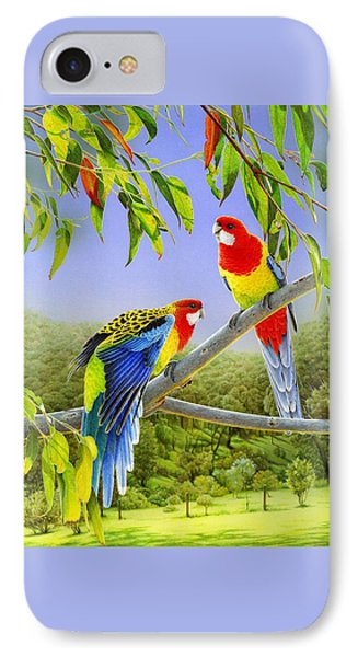 The Happy Couple - Eastern Rosellas  IPhone Case by Frances McMahon