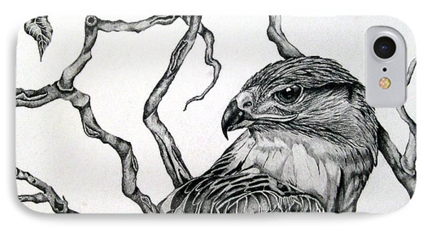 IPhone Case featuring the drawing The Hawk by Alison Caltrider
