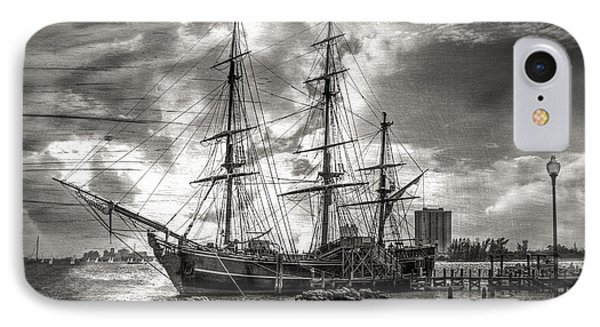 The Hms Bounty In Black And White Phone Case by Debra and Dave Vanderlaan