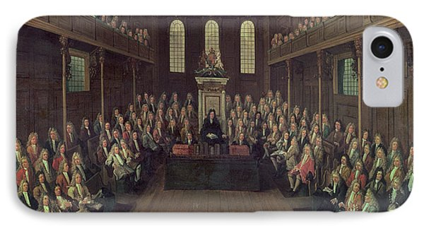 The House Of Commons In Session, 1710 Oil On Canvas IPhone Case by Peter Tillemans