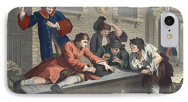 The Idle Prentice At Play In The Church Phone Case by William Hogarth