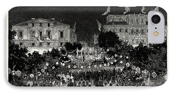 The Illuminations In The Place De La Constitution IPhone Case by Litz Collection