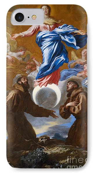 The Immaculate Conception With Saints Francis Of Assisi And Anthony Of Padua IPhone Case by Il Grechetto