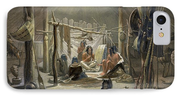 The Interior Of A Hut Of A Mandan Chief IPhone Case by Karl Bodmer