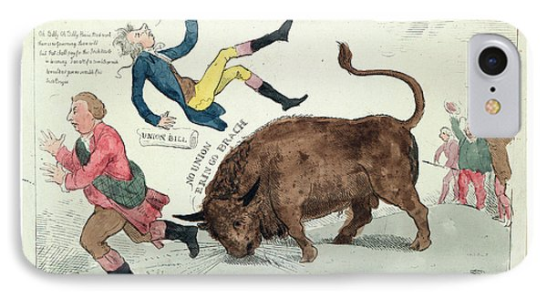The Irish Bull Broke Loose, Cruikshank, Isaac IPhone Case by Litz Collection