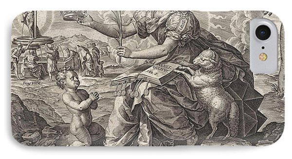 The Iron Age The Law Of The Grace Of The New Testament IPhone Case by Hieronymus Wierix And Pieter Balten