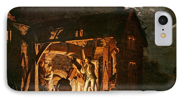 The Iron Forge Viewed From Without, C.1770s Oil On Canvas IPhone Case by Joseph Wright of Derby