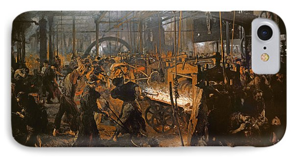 The Iron-rolling Mill Oil On Canvas, 1875 IPhone 7 Case by Adolph Friedrich Erdmann von Menzel