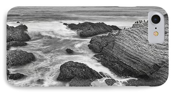 The Jagged Rocks And Cliffs Of Montana De Oro State Park In California In Black And White IPhone Case by Jamie Pham