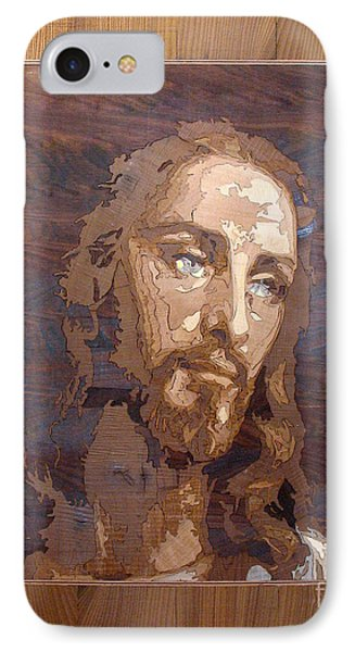 The Jesus Christ Marquetry Wood Work Phone Case by Persian Art