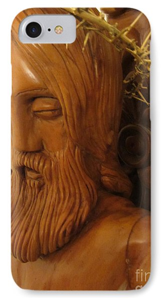 The Jesus Christ Sculpture Wood Work Wood Carving Poplar Wood Great For Church 3 Phone Case by Persian Art