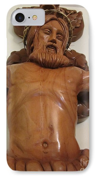 The Jesus Christ Sculpture Wood Work Wood Carving Poplar Wood Great For Church 4 Phone Case by Persian Art