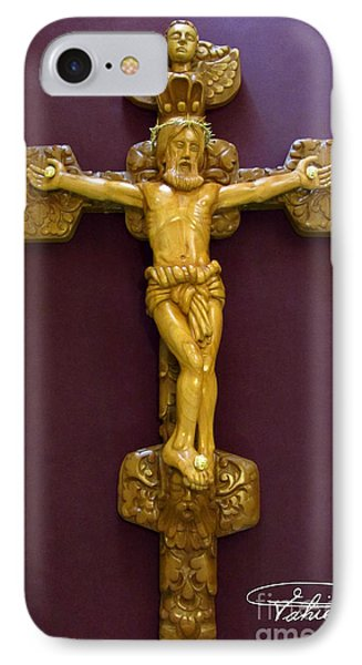 The Jesus Christ Sculpture Wood Work Wood Carving Poplar Wood Great For Church Phone Case by Persian Art