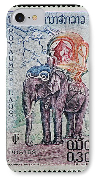 IPhone Case featuring the photograph The King's Elephant Vintage Postage Stamp Print by Andy Prendy