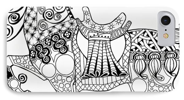 The King's Horse - Zentangle IPhone Case by Jani Freimann