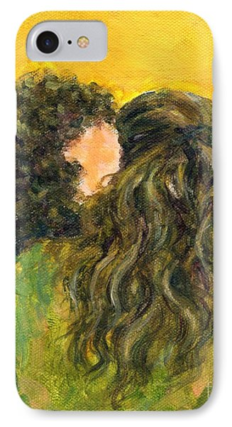 IPhone Case featuring the painting The Kiss Of Two Curly Haired Lovers by Jingfen Hwu