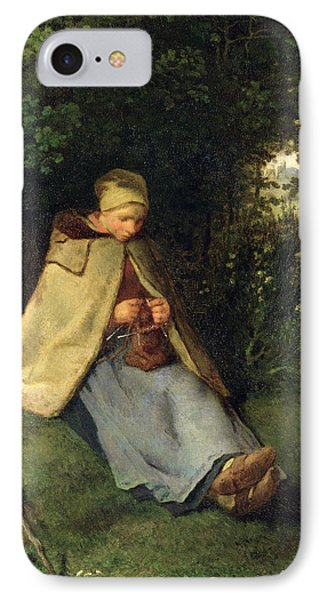The Knitter Or, The Seated Shepherdess, 1858-60 Oil On Canvas IPhone Case by Jean-Francois Millet
