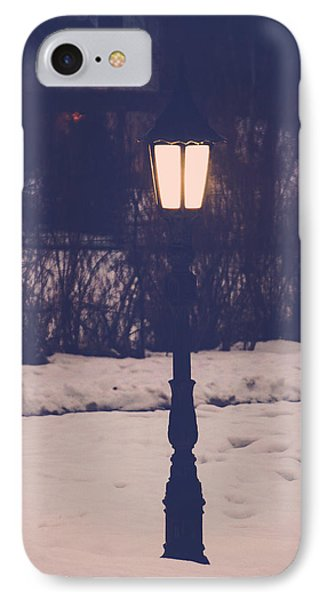 The Lamp In The Snow IPhone Case by Gloria Pasko