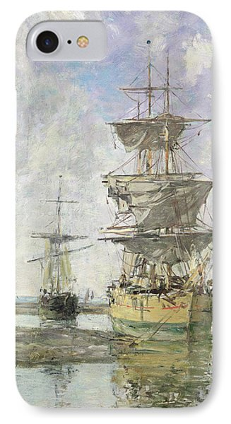 The Large Ship Phone Case by Eugene Louis Boudin