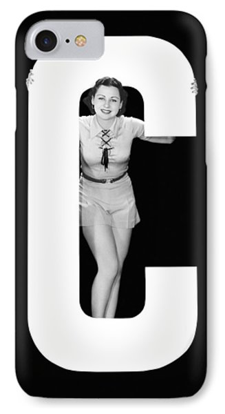 The Letter c And A Woman IPhone Case