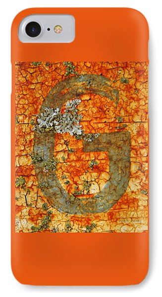 The Letter G With Lichens Phone Case by Chris Berry
