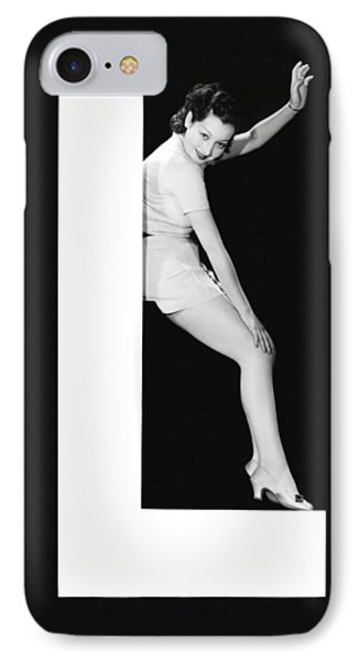 The Letter L And A Woman IPhone Case by Underwood Archives