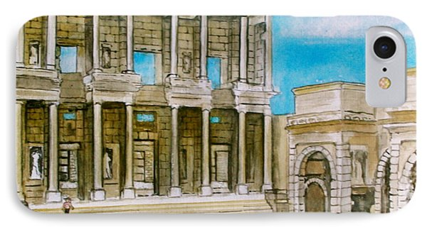 The Library At Ephesus Turkey IPhone Case by Frank Hunter