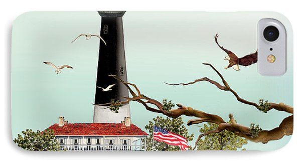 The Light House At Pensacola IPhone Case by Anne Beverley-Stamps