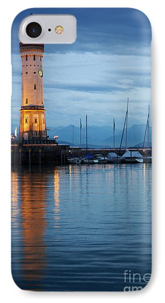 IPhone Case featuring the photograph The Lighthouse Of Lindau By Night by Nick  Biemans