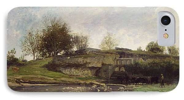 The Lock At Optevoz IPhone Case by Charles Francois Daubigny