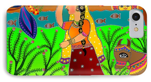 The Lonely Radha-madhubani Style-digital IPhone Case