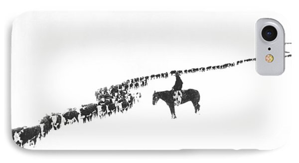 Rural Scenes iPhone 7 Case - The Long Long Line by Underwood Archives  Charles Belden