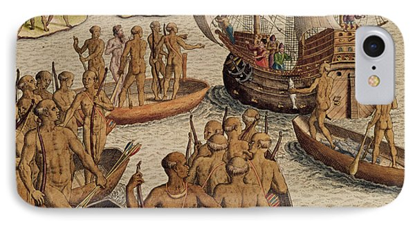 The Lusitanians Send A Second Boat Towards Me, From Americae Tertia Pars IPhone Case by Theodore de Bry