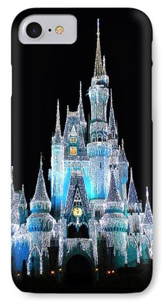 The Magic Kingdom Castle In Frosty Light Blue Walt Disney World Phone Case by Thomas Woolworth