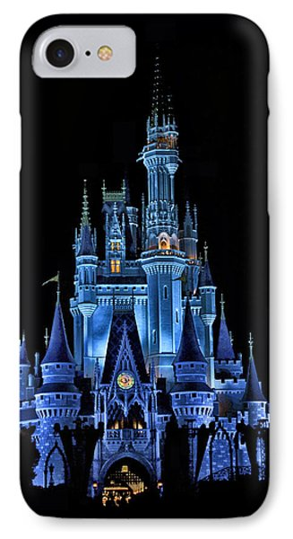The Magic Kingdom Castle In Very Deep Blue Walt Disney World Fl Phone Case by Thomas Woolworth