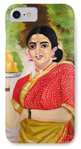 IPhone Case featuring the painting The Maharashtrian Lady by Brindha Naveen