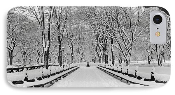 The Mall At Central Park During A Snowstorm IPhone Case