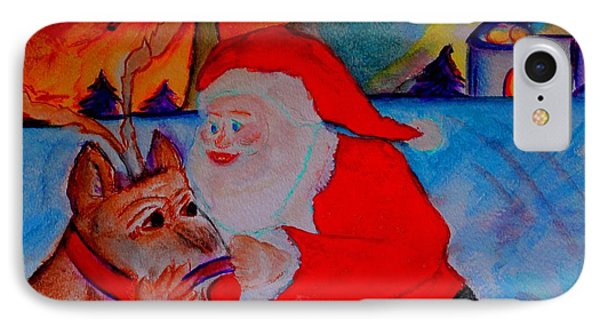 The Man In The Red Suit And A Red Nosed Reindeer IPhone Case by Helena Bebirian