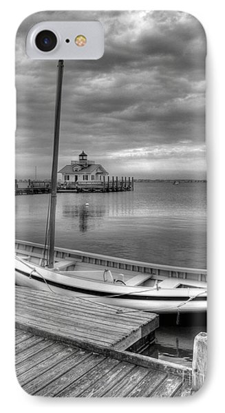 The Manteo Waterfront 2bw IPhone Case by Mel Steinhauer